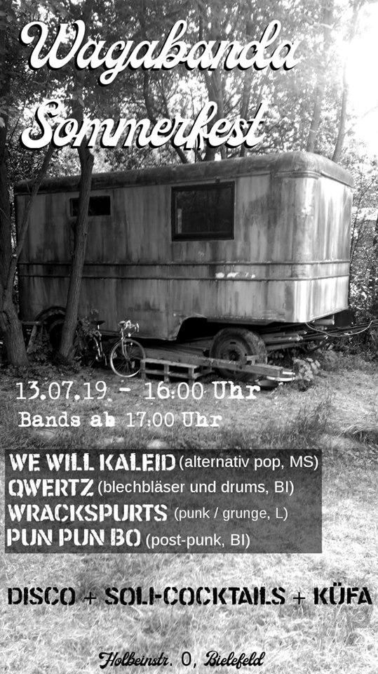 Bielefeld Flyer Wagabanda Sommerfest we wil kaleid, qwerz; wrackspurts; pun pun bo